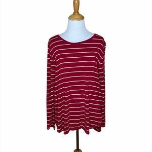 Old Navy Luxe long sleeve burgundy & white stripe